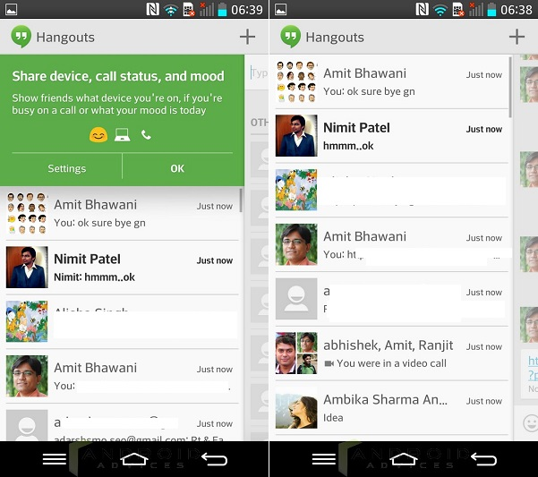 Android KitKat Hangouts