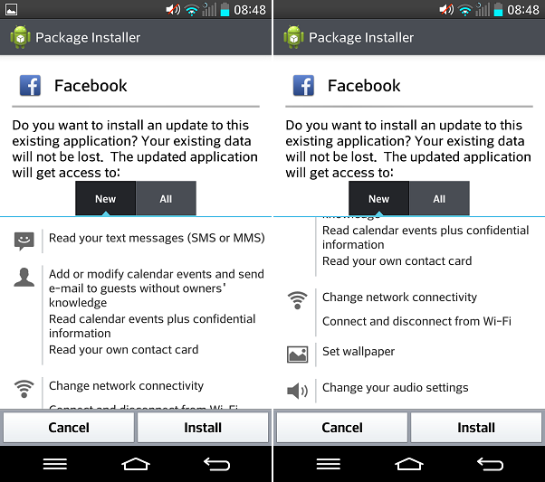 Facebook version 4 permissions