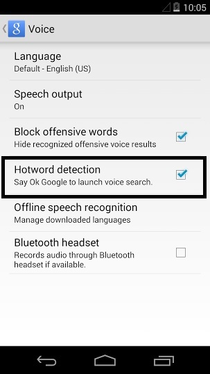 KitKat Voice Settings