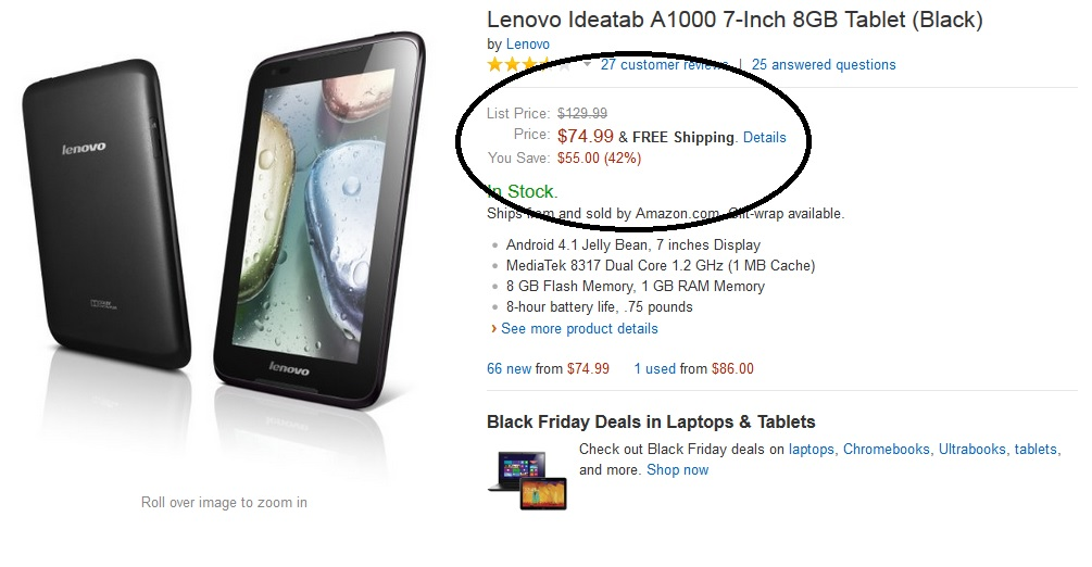 Amazon Black Friday 2013 Deal: Lenovo Ideatab A1000 7-Inch Tablet