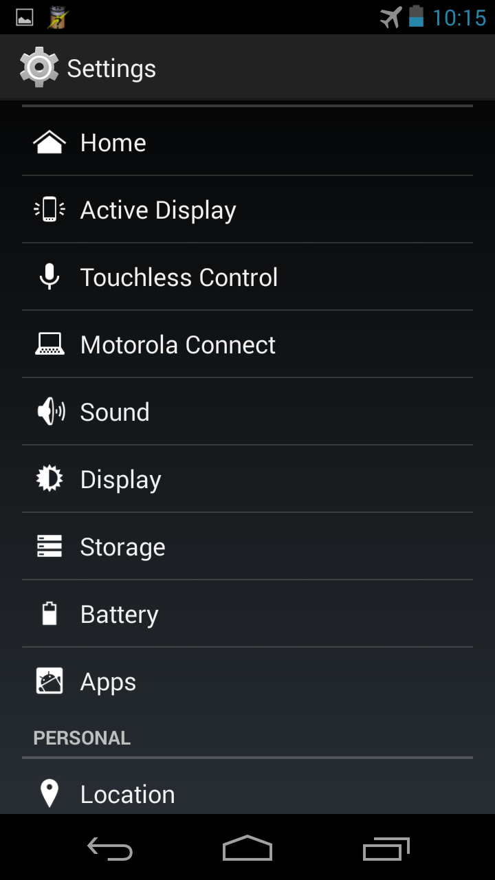 Moto X T-Mobile Android 4.4 Settings