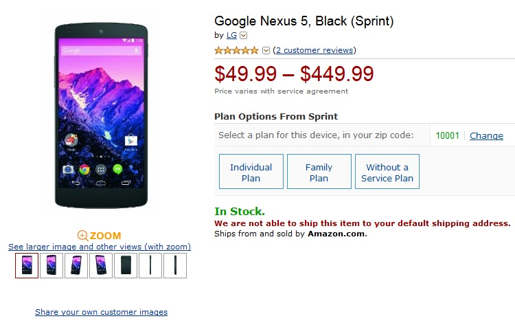 Nexus 5 Sprint Amazon