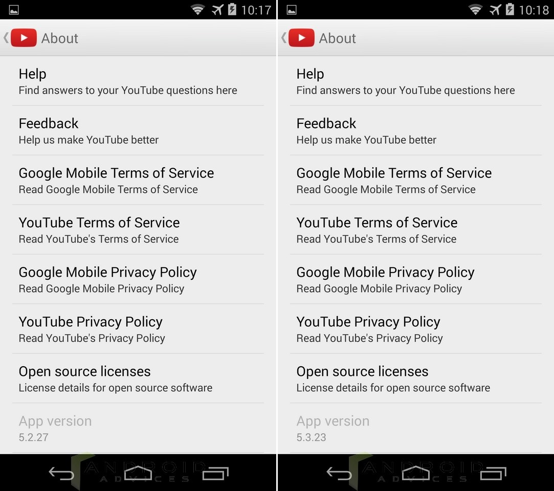 Youtube App Update About