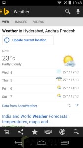 Bing Android App Weather