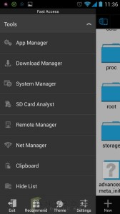 ES File Explorer Menu
