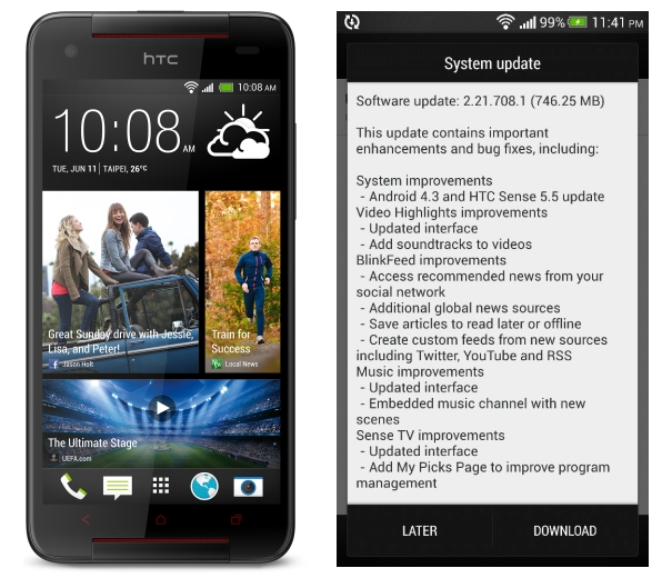 HTC Butter fly S system update