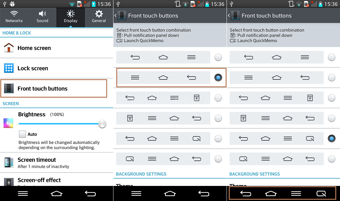 LG G2 Front Touch Buttons