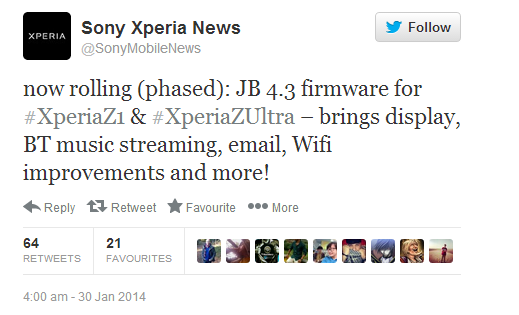 Xperia Z1 and Z Ultra 4.3 update