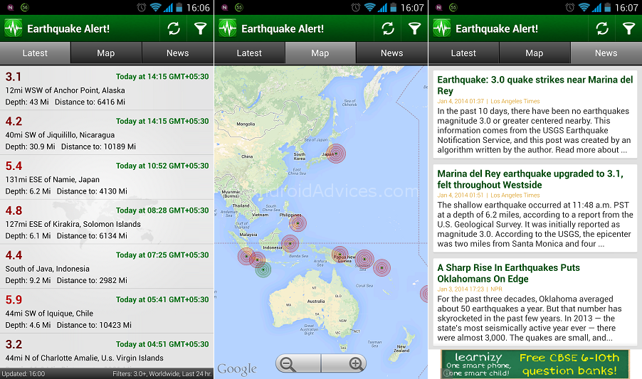 Earthquake Alert App Android