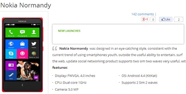 Nokia Normandy Leaked Specs