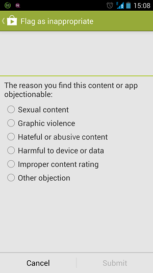 Report App Play Store Reasons