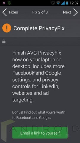 AVG PrivacyFix Android 6