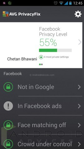 AVG PrivacyFix Android 9