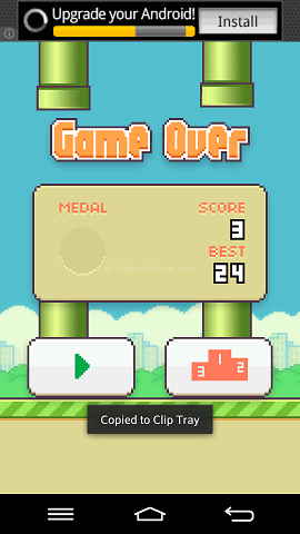 Flappy Bird Android Game Over