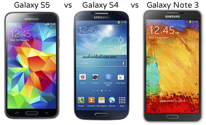Samsung Galaxy S5 vs Galaxy S4 vs Note 3 Android Phone Specs ...