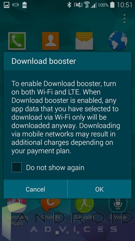 Samsung Galaxy Interface Download Booster