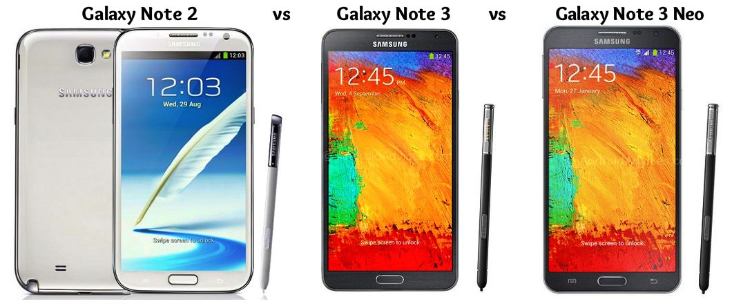 Galaxy Note 2 vs Note 3 vs Note 3 Neo