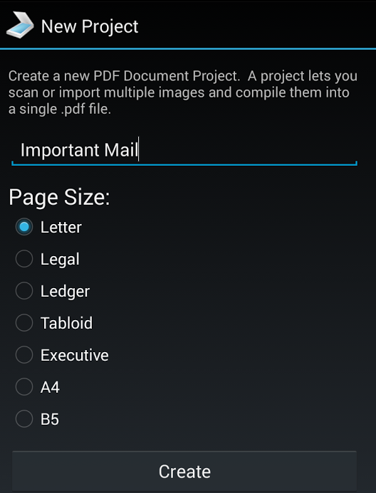 pdf document scanner page size