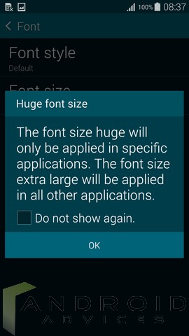 Galaxy S5 Huge Font Size