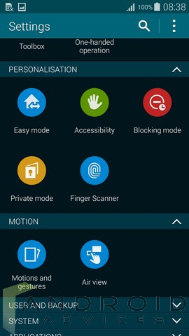 Galaxy S5 Settings