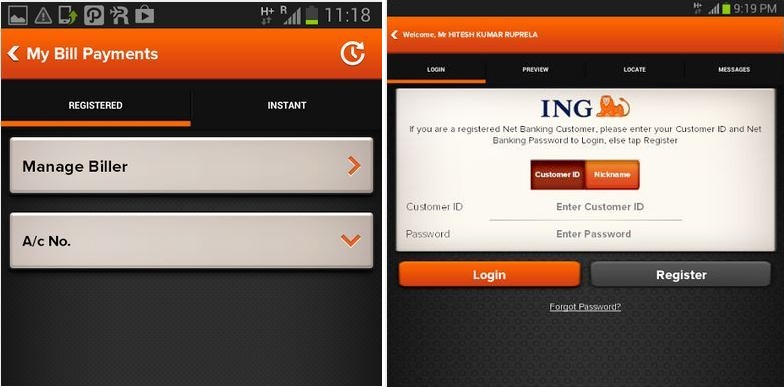 ING Vysya Bank App for Android Review, Features and Problems