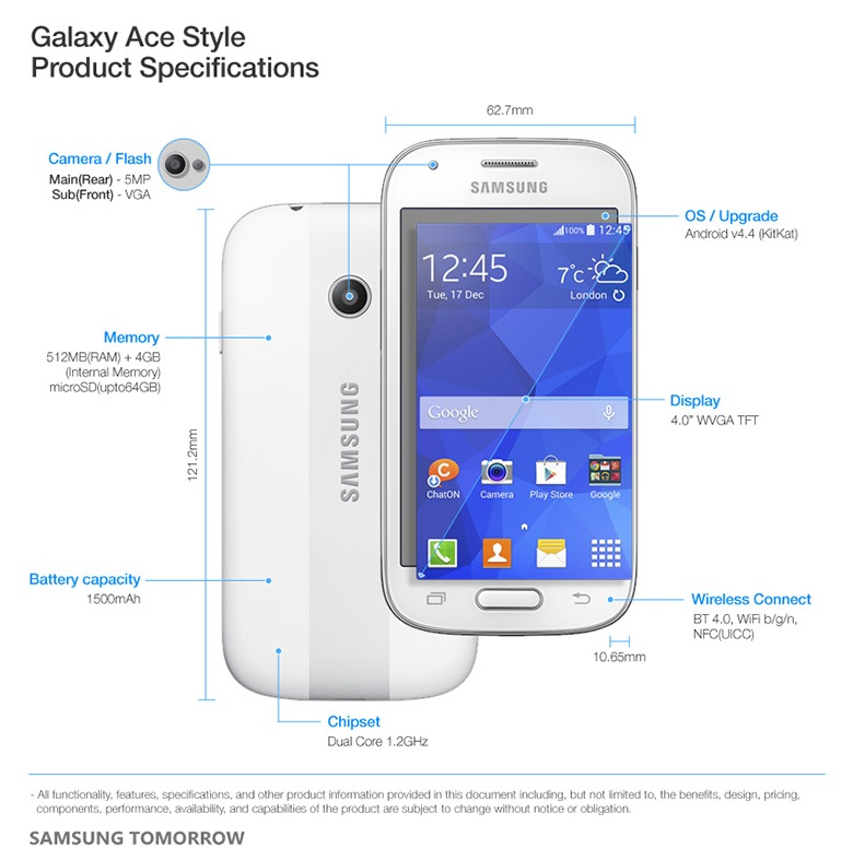 Samsung Galaxy Ace Style Specifications