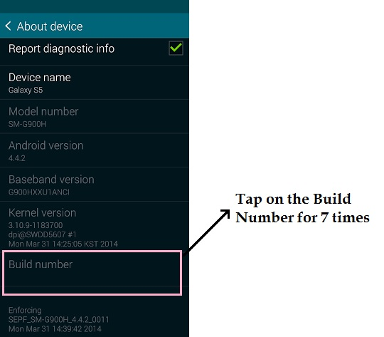 Samsung Galaxy S5 Enable Developer Options