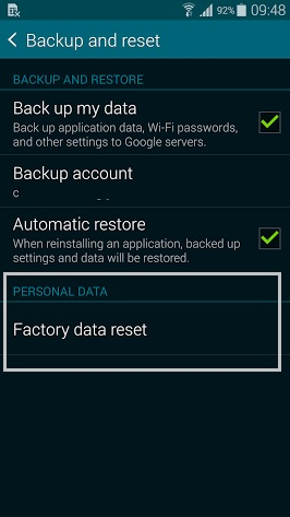 Samsung Galaxy S5 Factory Data Reset