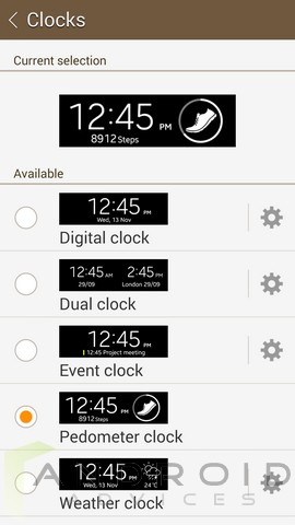 Samsung Galaxy S5 Gear Fit Manager Clocks