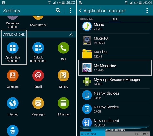 Samsung Galaxy S5 My Magazine App Manager