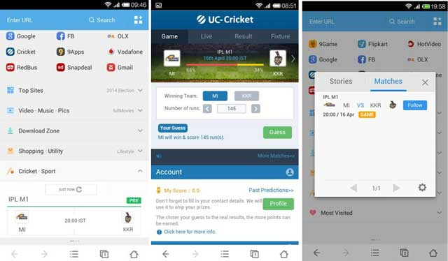 UC Browser cricket