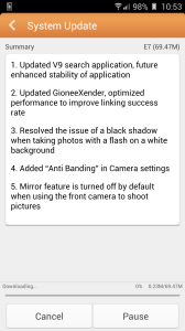 Gionee Elife E7 update downloading