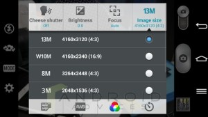 LG G Pro 2 Camera App Sizes