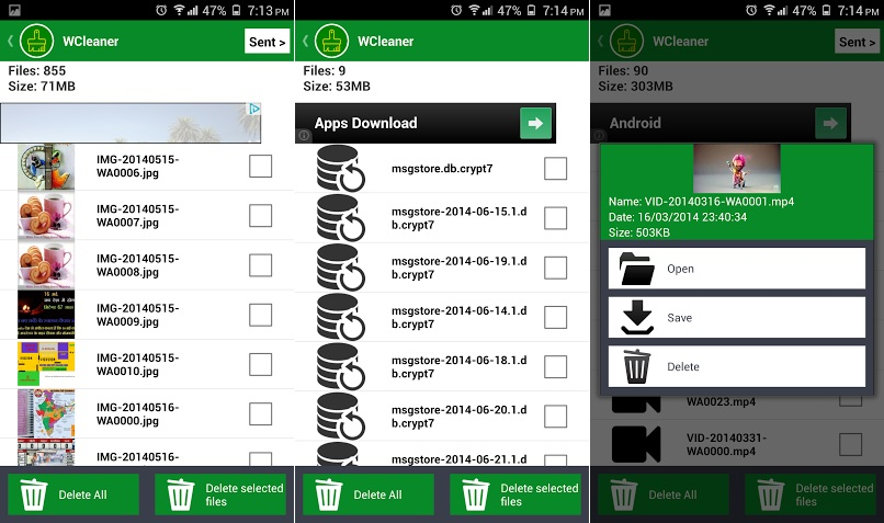 Wcleaner android options