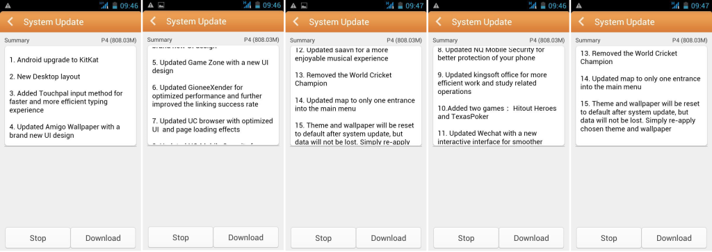 Gionee Pioneer P4 KitKat Update Change log