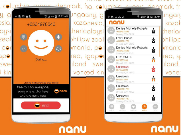 Nanu, Android app with Free Worldwide Calling facility to Mobiles