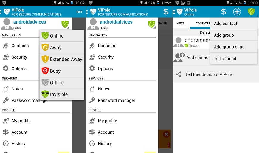 VIPole Android App Options