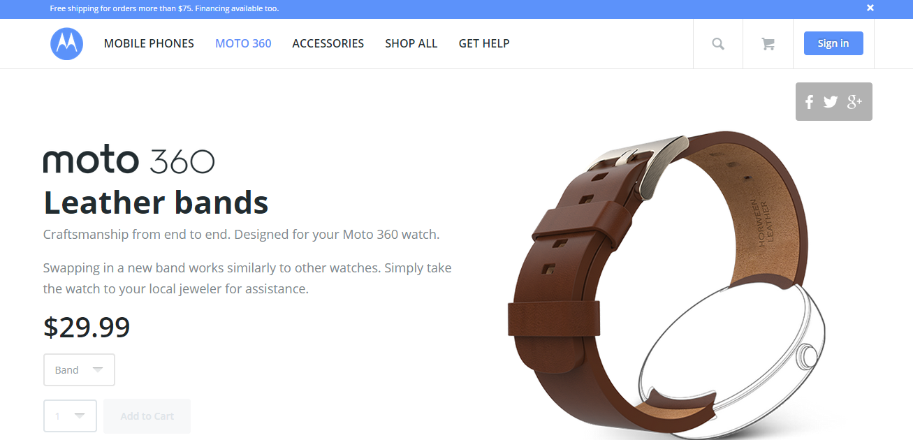 Moto 360s Individual Bands Now Available On Motorolas Online Store Motorola Smart Watch Black Leather 360 Band