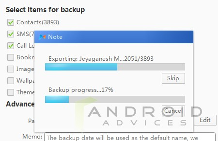 MoboRobo Windows Backup Progress