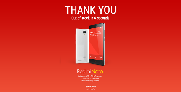 redmi note sold out