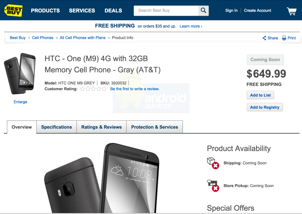 HTC One M9 Best Buy Listing