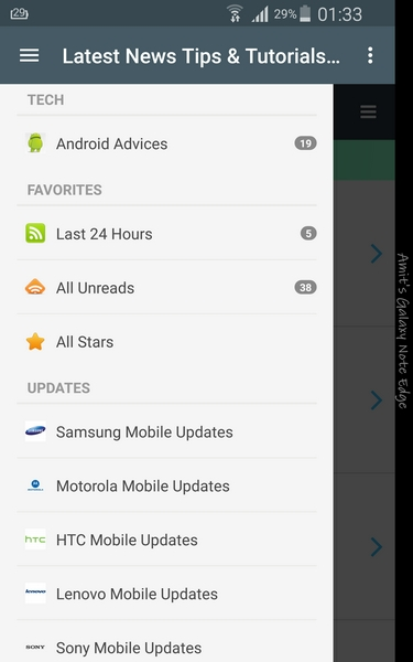 Android Advices App - Menu bar